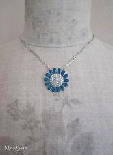 PILGRIM Necklace QUIRKY CHARM Daisy Flower Enamel & Pearls Blue/Silver BNWT