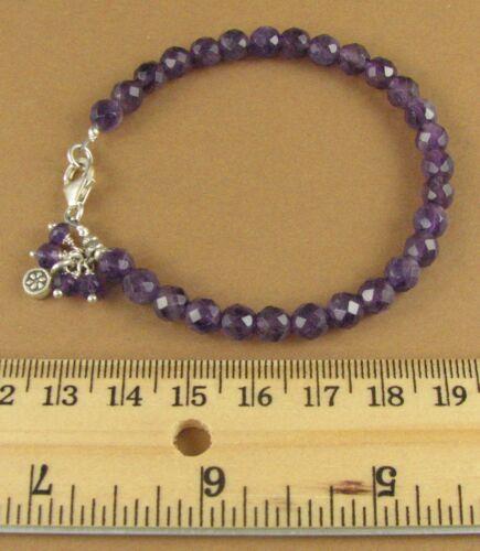 Flower charm dangle Handmade Amethyst and silver bracelet Sterling silver 925