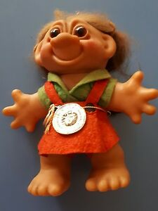 "Vintage Original Danish Dam Girl Troll 6"" Made in Denmark 1975 Marked Lykettrold"