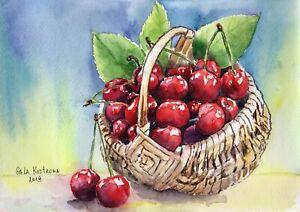 Cherry-original-still-life-watercolor-fruits-painting-garden-basket-summer-art