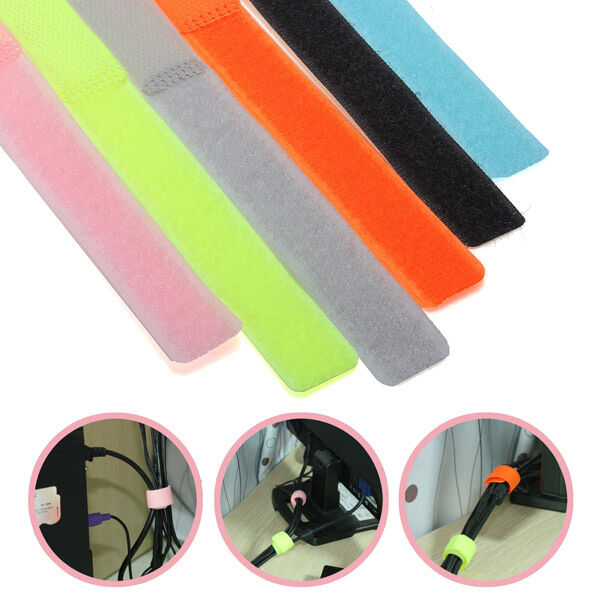 50Pcs Reusable Stick Cable Ties Tape Tidy Strap Strapping Wire Wrap