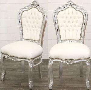Esstischstuhl Weiß barock esstisch stuhl silber weiß dining chair esszimmerstuhl