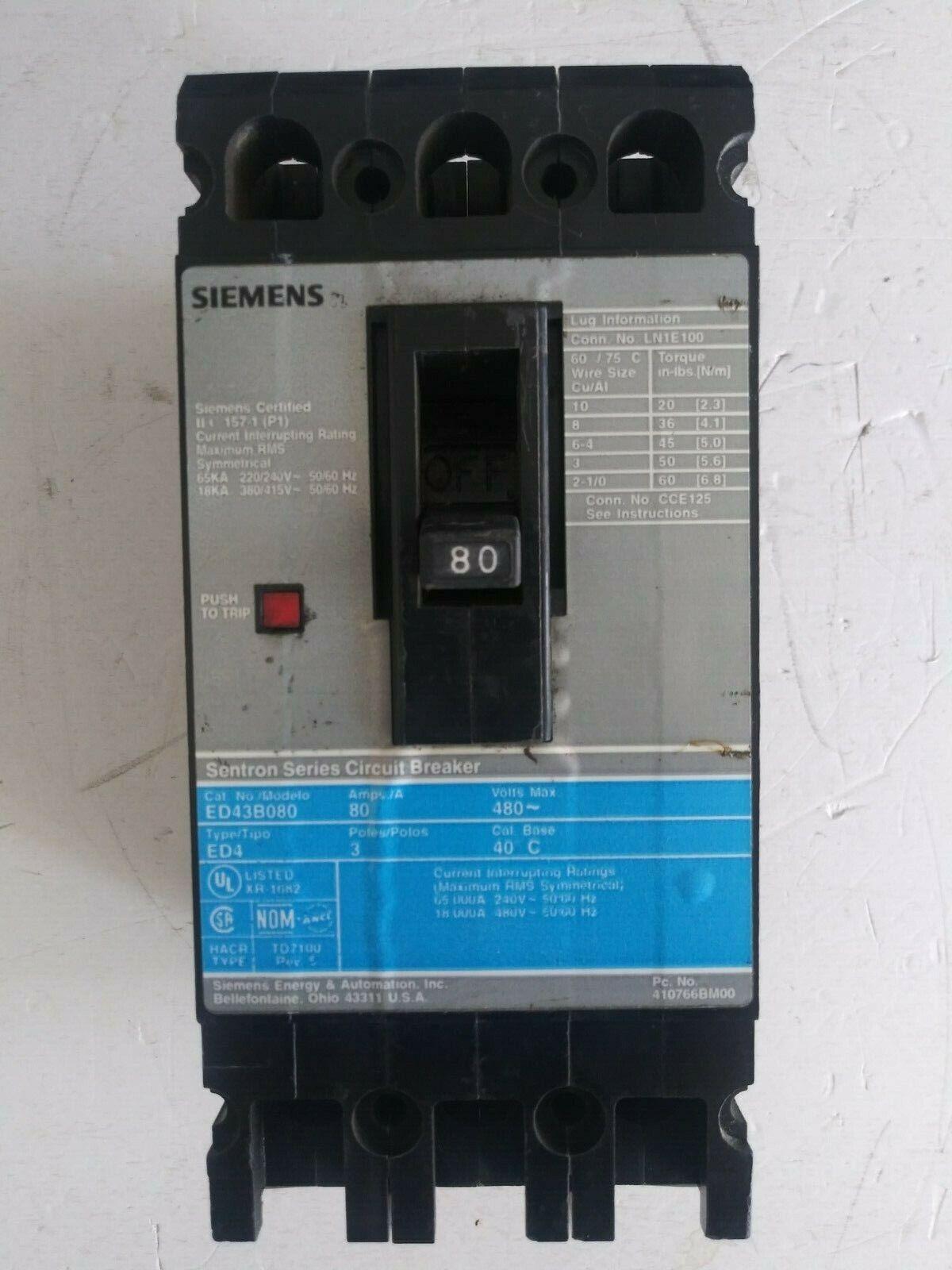 30 Amp Siemens ED43B030 Circuit Breaker 3 Pole Type ED4