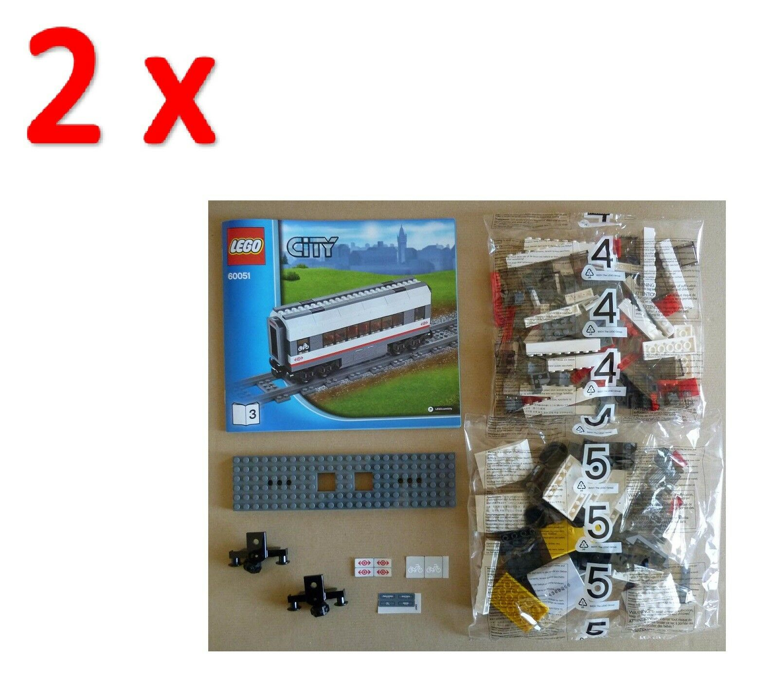 LEGO Train - Lotto 2 Vagoni Intermedi Passeggeri - da 60051 - SIGILLATI 60052