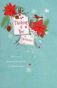 Details about traditional thinking of you at christmas greeting card lovely verse xmas cards image is loading traditional thinking of you at christmas greeting card m4hsunfo