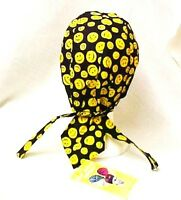 Chemo Cancer Head Cover Smiley Face Black Wrap Hat Durag 100% Cotton
