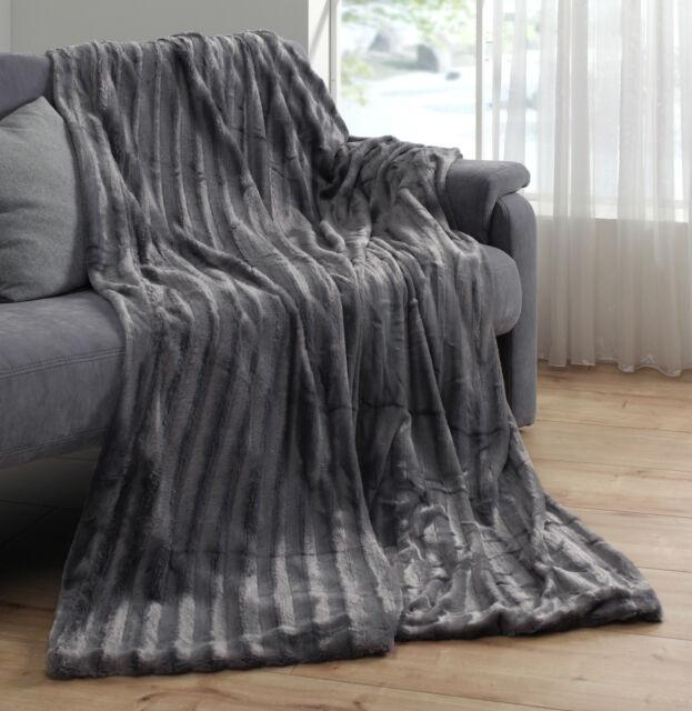 Kuscheldecke Grau Antrazit 150 x 200 cm Nerzoptik Doppelseitige Pelzimitatdecke
