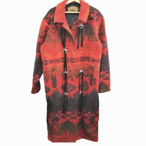 E85-Vintage-Woolrich-Made-in-USA-Trench-Coat-Navajo-Aztec-Duster-Women-039-s-Large