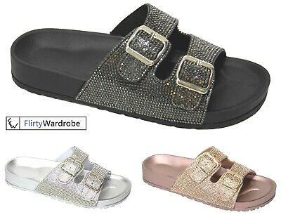 Flat Buckle Sliders Mules Slippers Diamante Comfy Slip On Summer Womens Ladies | eBay