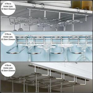 Chrome Wine Glass Holder Kitchen Stemware Cabinet Shelf