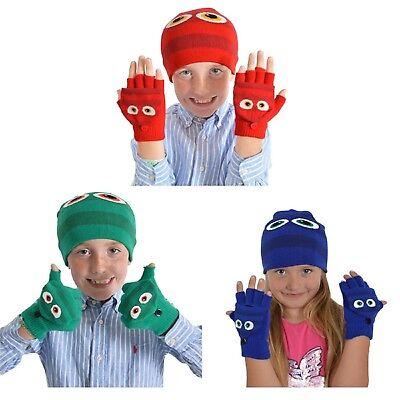 Ragazzi Ragazze Bambini Mostro Diavolo Demone Fancy Caldo Inverno Cappello & Guanti Set Halloween-mostra Il Titolo Originale