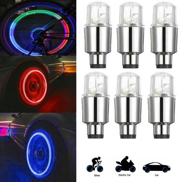 2//4pcs LED Bike Cars Motorcycles Wheel Light Lamp Colorful Tire Valve Universal