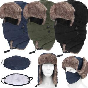 Men Trapper Aviator Trooper Earflap Hat Windproof Winter Ski Face Cover Cap Warm