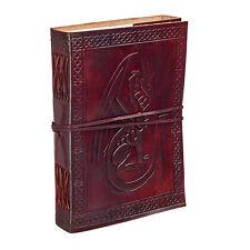 Fair Trade Handmade Celtic Sitting Dragon Leather Journal Notebook Diary