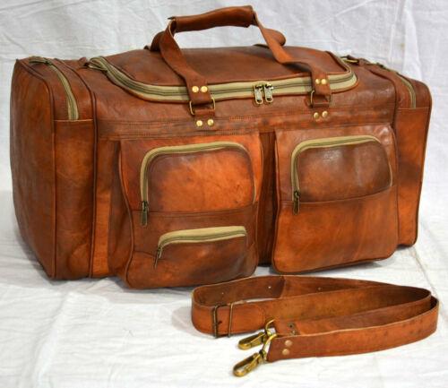 "26/"" Men/'s Leather Large Vintage Duffle Travel Gym Weekend Safari Overnight Bag"