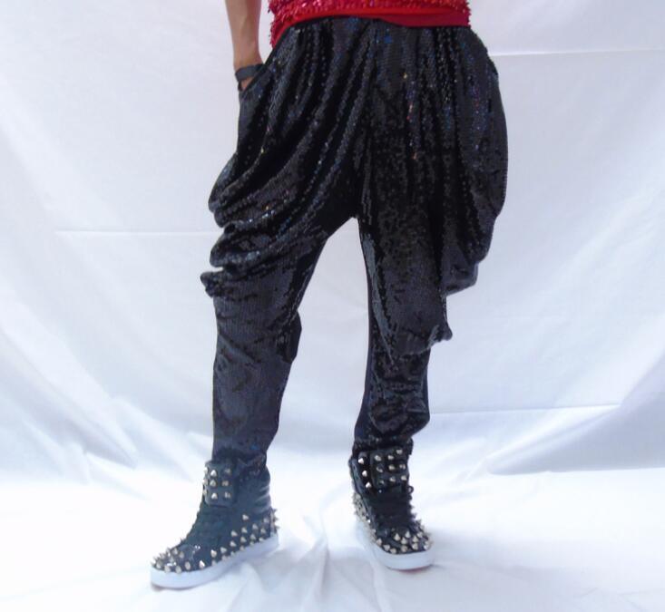 Men Sequins Slim Fit Harem Pants Nightclub DJ Singer Bling Hip-Hop Trouser Hot