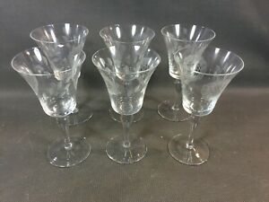 Détails sur Lot de 6 verres à vin en verre soufflé vintage finement décorés old glasses