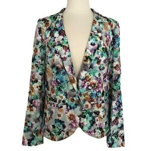 Hinge Multi-Color Floral Blazer New NWT Collar Pockets Button Women's Size Small