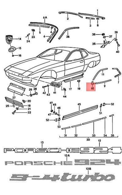 Porsche 944 Roof Trim Clips Quantity 2