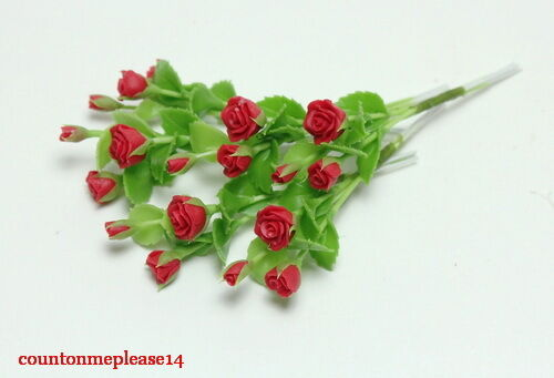 Miniature Flowers  Red Rose Nice Handmade White Clay Decorative 1:12 approx.