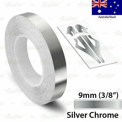 "SILVER CHROME 9mm 3//8/"" Roll Pin Stripe PinStriping Line Tape Vinyl Car STICKER"