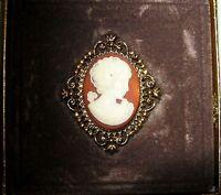 Vintage Avon Cameo Perfume Gold Tone Locket 2 Brooch Pin In Box W/perfume