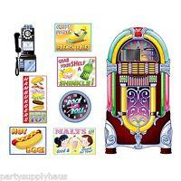1950s Diner Sock Hop Grease Party Decoration Soda Shop Signs & Jukebox Props