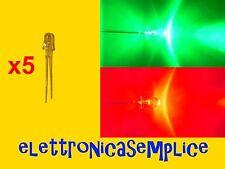 led lampeggiante flash rosso/verde 5 mm 5 pezzi (25SP)