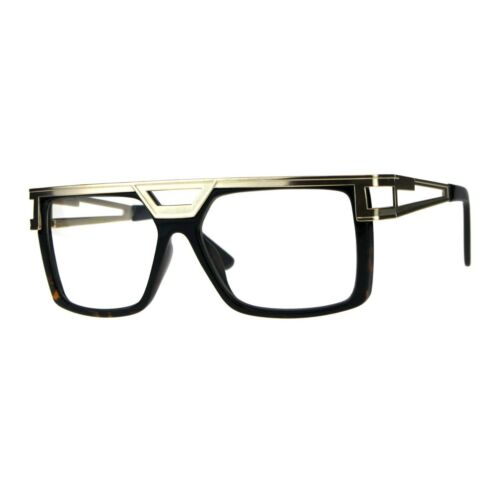 Mens Clear Lens Glasses Gold Flat Metal Top Square Rectangular Fashion