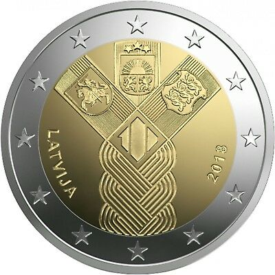NEW Latvia 2018 2 Euro commemorative coin 100 years of independence Lettland