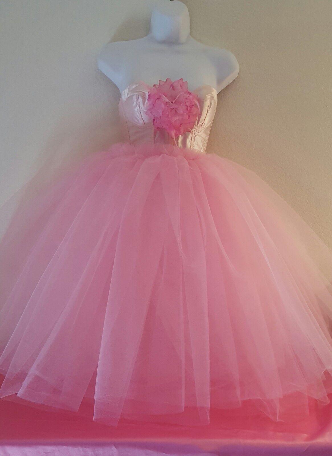 SEXY PASTEL PINK PRINCESS TULLE TUTU CORSET MINI DRESS BRIDAL WEDDING PROM PARTY