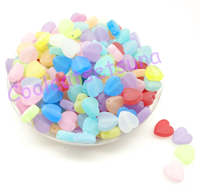 100Pcs Mixed Color Frosted Heart  Acrylic Spacer Loose Beads 9mm