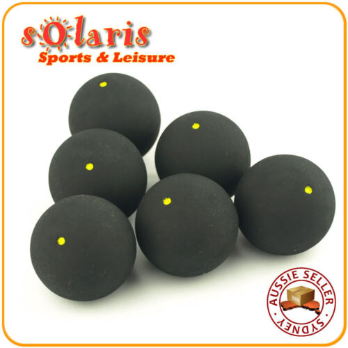 6 x Single Yellow Dot Squash Balls Generic NonBranded High Quality Rubber