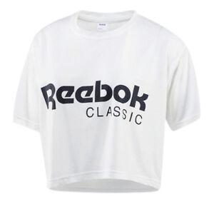 cfb3ff78e99d Reebok Classic Short Sleeve Crew Womens White Crop Tee Top T-Shirt ...
