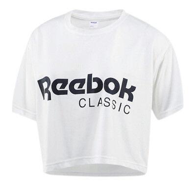 Reebok Klassisch Kurzärmlig Rundausschnitt Damen Weiß T-Shirt Top BR7307 RW16