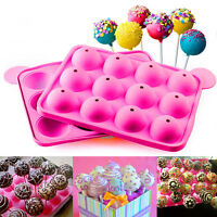 12cake Cookie Chocolate Silicone Lollipop Pop Mould Mold Baking Tray Stick Party