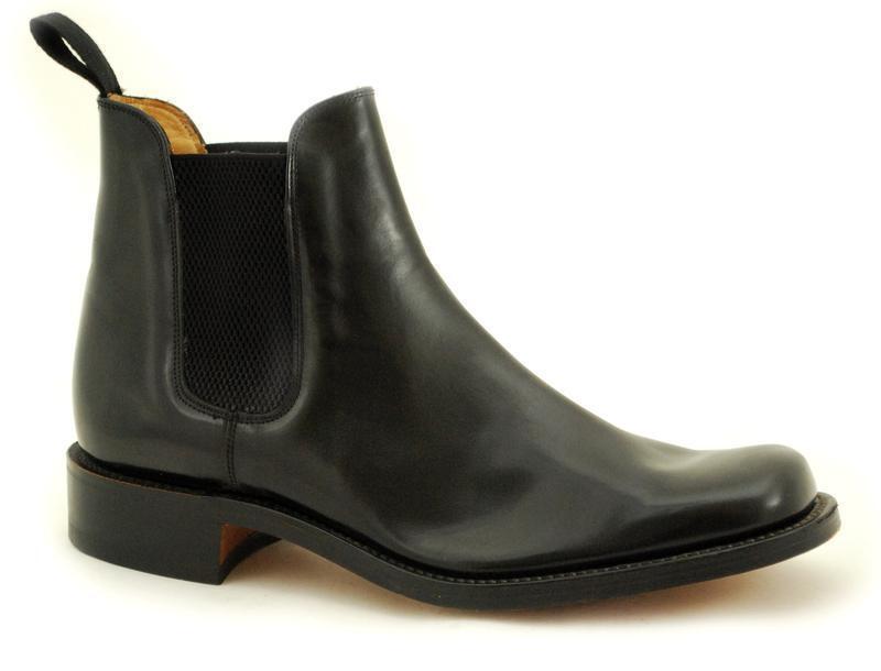 Loake Costuras De Sin Marco Premium Zapatos Hombre Sin De Cordones Black Pulido Chelsea d995ee