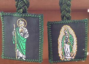 Virgen-De-Guadalupe-Y-San-Judas-Tadeo-Escapulario-Trenzado-Color-Verde