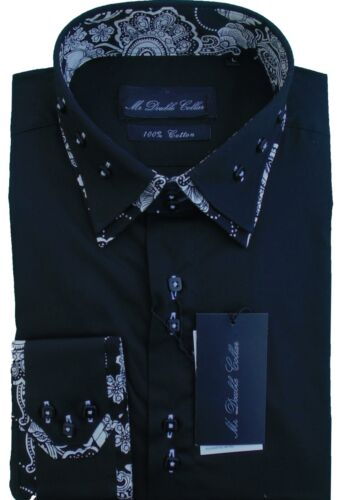 MENS CLASSIC BLACK PAISLEY SHIRT SMART CASUAL FORMAL DOUBLE COLLAR
