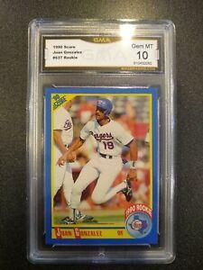 1990 Score JUAN GONZALEZ RC #637 Texas Rangers Rookie GMA Gem Mint 10 910432085
