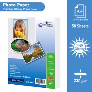 50 FOGLI 230 GSM ALTA LUCIDA FOTOGRAFICA carta fotografica per stampanti a getto d'inchiostro per EW