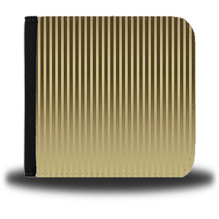 Black & Gold Vertical Striped Boys Money Purse Stripes Lines Leather Wallet B315