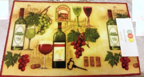 "Soho nonskid back 18/"" x 28/"" PRINTED KITCHEN RUG WINE WITH CORKS /& GRAPES"