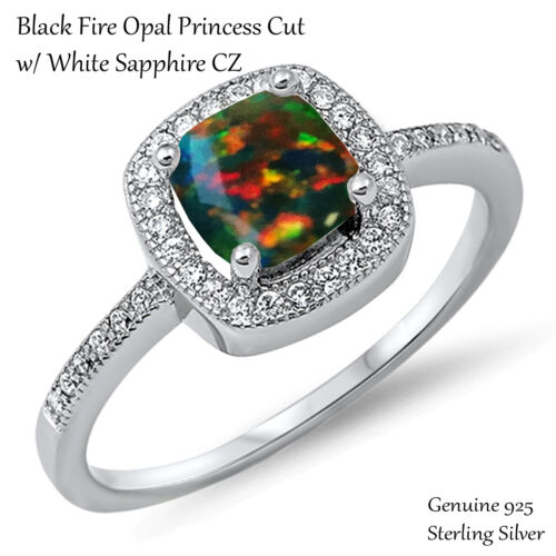 Princess Promise Engagement Black Fire Opal Sterling Silver Ring