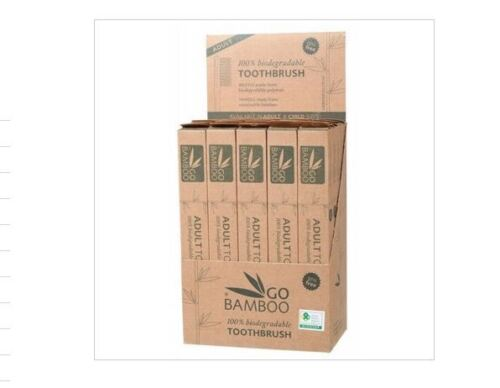 GO BAMBOO Toothbrush Adult 25 BULK 25pc LOT 100% Biodegradable