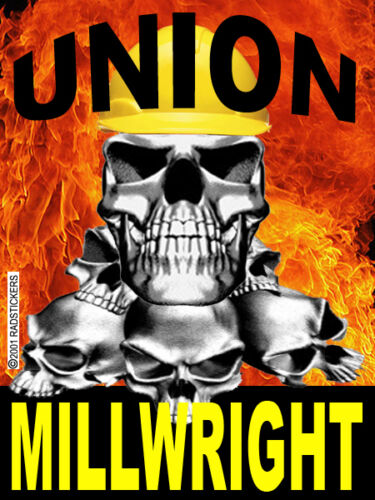 union millwright with skull flames CMW-11