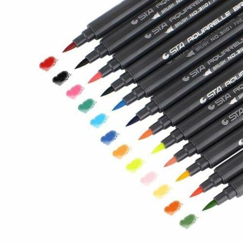 STA 80Colors Set Water Based Ink Sketch Marker Pens Twin Tip Fine Brush Marker P
