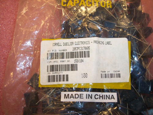 QTY 100 .1uf 275Vac X2 METALLIZED POLYESTER SUPPRESSION CAPACITORS 158X104