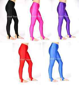 427af6622 Girls Children Kids Stirrup Leggings Dance Gymnastics Shiny Nylon ...