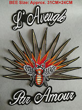 LOT 3pcs/set Large Fire BEE Embroidered patch Fashion Decoration Sew on Rocker